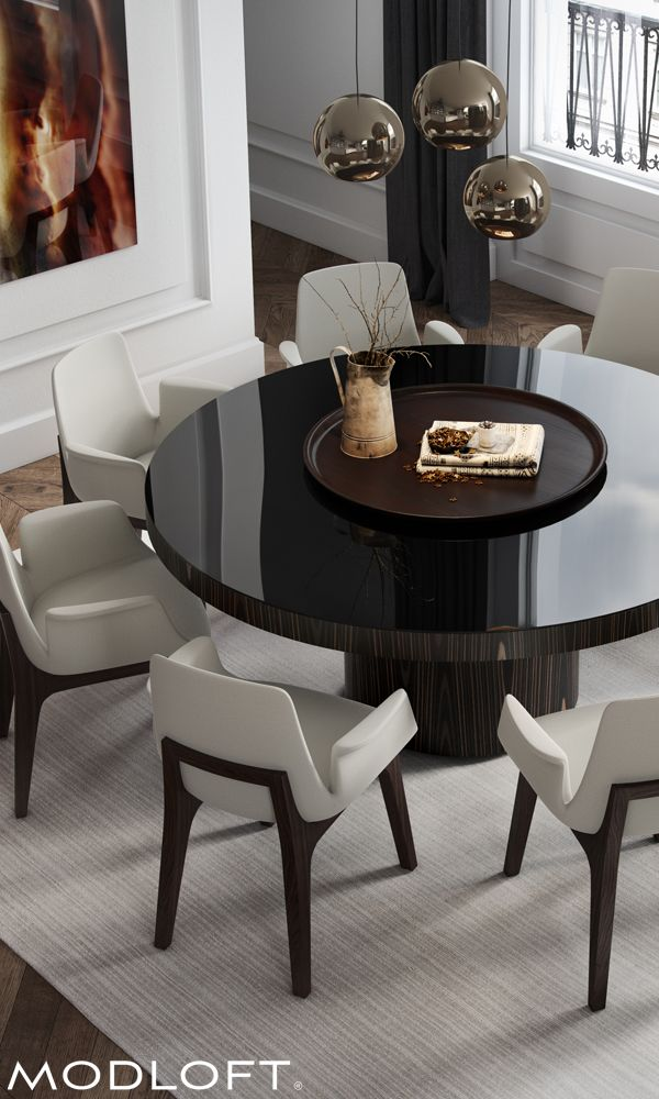 """The 71"""" Berkeley dining table by Modloft represents clean, incisive design. Shown with Modloft Mercer dining armchairs. Discover a better contemporary lifestyle at modloft.com."""