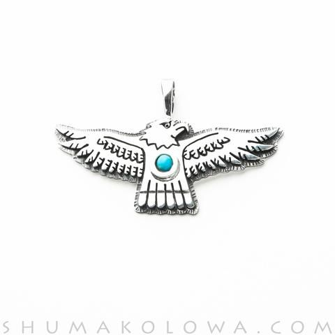 Gerald Lomaventema Overlay Turquoise Eagle Pendant