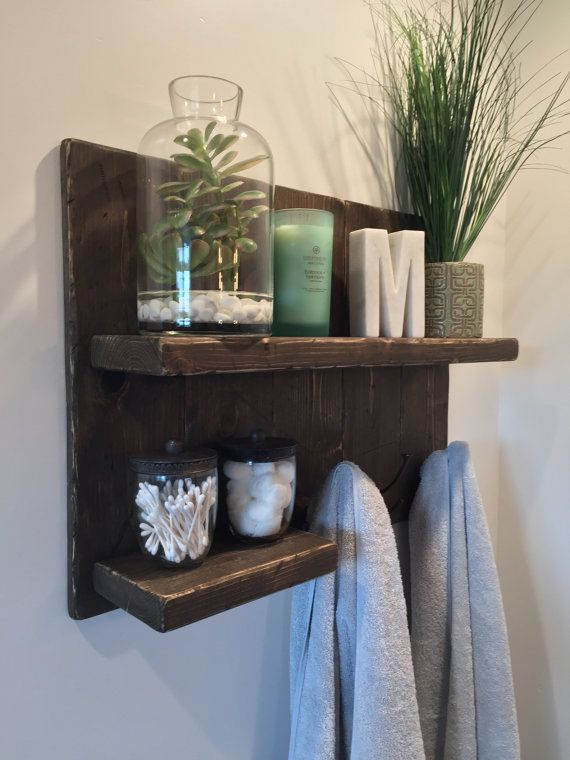 Rustic Bathroom Shelf with Towel Hooks by MonroeBuilt on Etsy