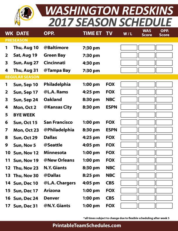 Washington Redskins Football Schedule 2017