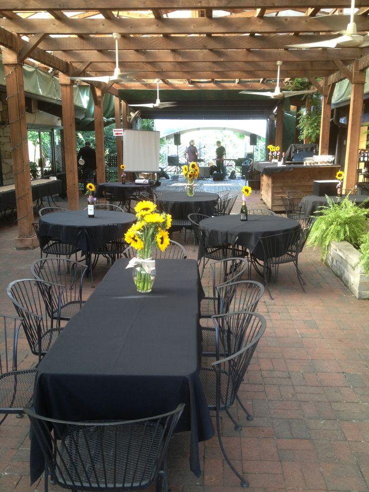 Beer Garden wedding with sunflowers