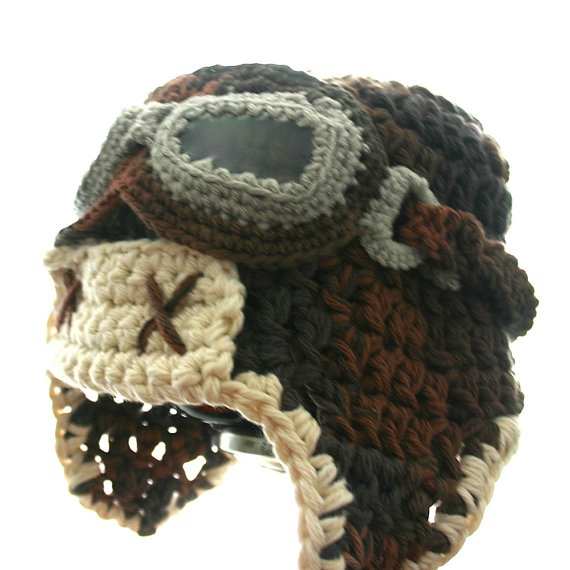 baby to big sized #crochet aviator hat! includes link to purchase pattern if you crochet~ handmade to order by @Etsy! member @TheEnchantedSquare