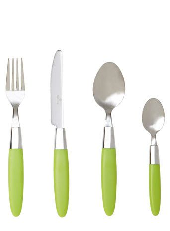 This 16 piece lime green cutlery set from BHS is an essential for students!