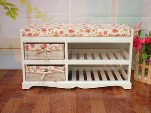 包邮 the new the Pastoral double solid wood shoe rack / hall Huanxie stool / storage benches white shoe - Taobao