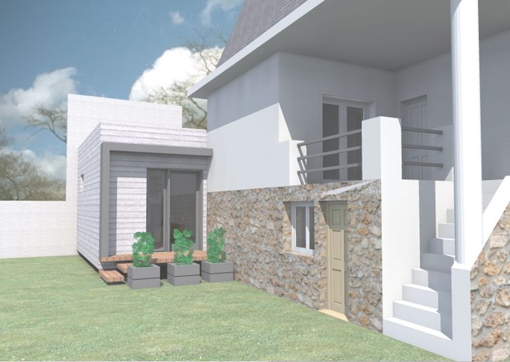 Projet bureau independant 91370 Verrieres le Buisson construction passive bois blanc