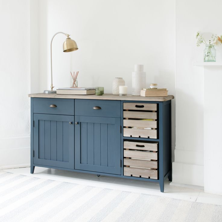 CIDRE SIDEBOARD IN INKY BLUE inky blue, sideboard, cidre, wooden sideboard, wood sideboard, crate, rustic, country look, country feel, country furniture, rustic furniture, wooden furniture, cabinets, cabinetry, kitchen unit, kitchen cabinet, kitchen console, kitchen storage, drawers, blue, deep blue, hallway unit, hallway console, storage, dining room,