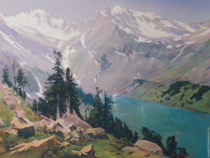 Купить Верхнее Мультинское озеро - пейзаж с водой, пейзаж пастелью, пейзаж с…