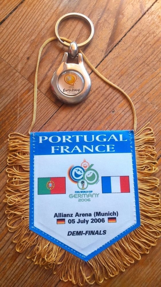 Fanion PORTUGAL FRANCE football match World Cup Germany 2006 Porte-clé Euro 2004  | eBay