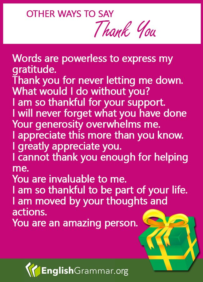 Other ways to say: Thank you