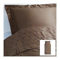 VINRANKA Ágyneműhuzat-garnitúra, barna - barna - 150x200/50x60 cm - IKEA