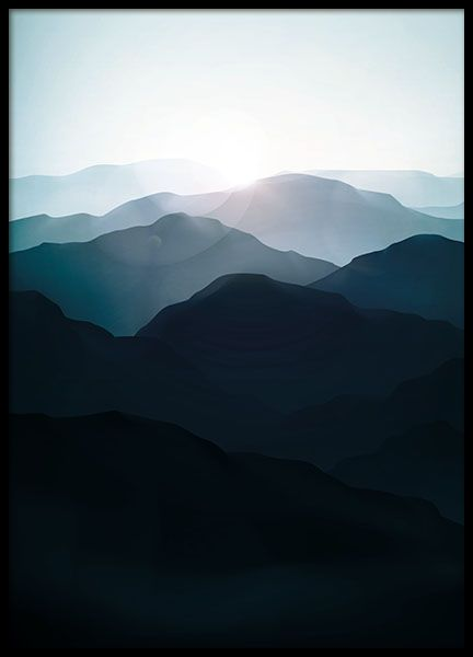Poster with an illustration of nature, beautiful mountains with forest and the sun shining. Looks like a photo from a distance and goes well with many different types of decor. Very nice for the bedroom or living room. Can be placed in a frame or with poster-hangers or clips. www.desenio.com