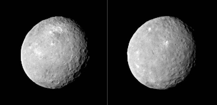 NASA'nın Dawn adlı uzay mekiğinden Ceres gezegeni. 83.000 kilometre mesafeden fotoğraf çekilmiş. 12 Şubat 2015. Uzay mekiği de 6 Mart 2015'te gezegene ulaşacak.