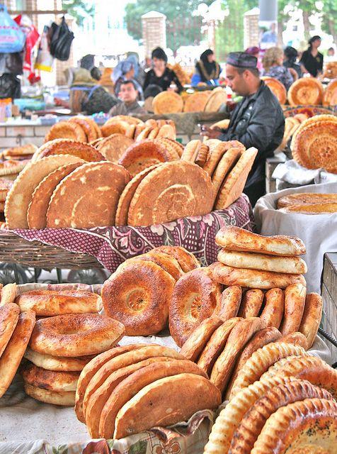 Street Food at the bazaar in Margilan, eastern Uzbekistan