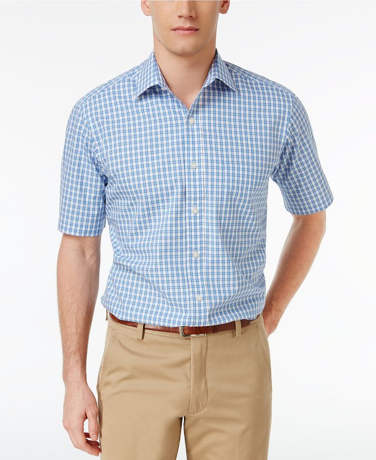 Club Room Men's Classic/Regular Fit Pink Blue Cross Short Sleeve Dress Shirt, Only at Macy's - Dress Shirts - Men - Macy's