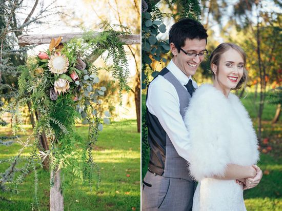 timber arbour / bride and groom / perth wedding / australian native floral arrangements / lace bridal gown / fur feather wrap / outdoor ceremony  / core cider house / winter wedding / rustic glamour styling Rustic Winter Orchard Wedding Inspiration featured on Polka Dot Bride captured by Earthbound Images http://www.earthboundimages.com.au