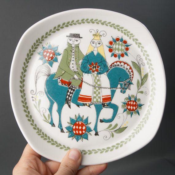 vintage plate figgjo flint norway saga green blue by northvintage, $39.00