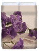 Campanulas And Lace Digital Pastel Art Work Duvet Cover by Sandra Foster