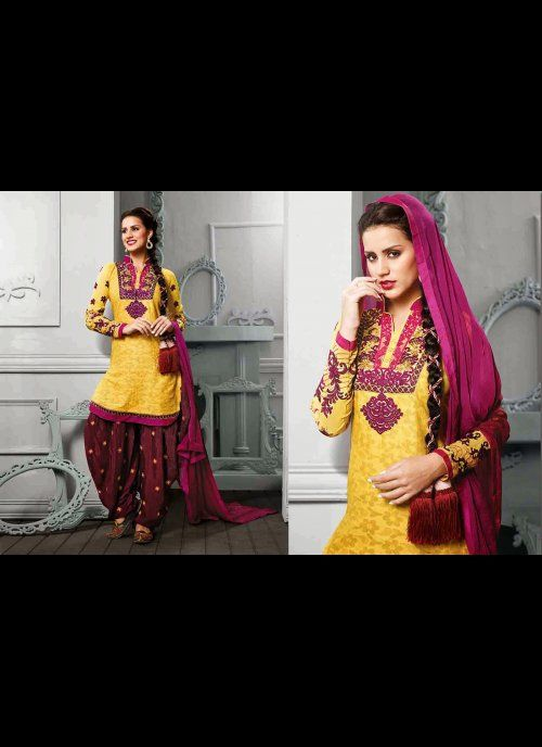 Luscious Yellow Salwar Kameez #designer #salwarkameez #pakistani #suit #shalwar #kameez #indian #patialaSalwar #net #georgette #indiantrendz #chudidar  #asianclothing #partywear #women #ethnic #traditional #dresses