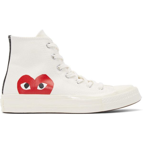 Comme des Gar�ons Play Off-White Converse Edition High-Top Sneakers (2.789.685 VND) ❤ liked on Polyvore featuring shoes, sneakers, canvas high top sneakers, high top sneakers, laced sneakers, rubber sole shoes and star shoes