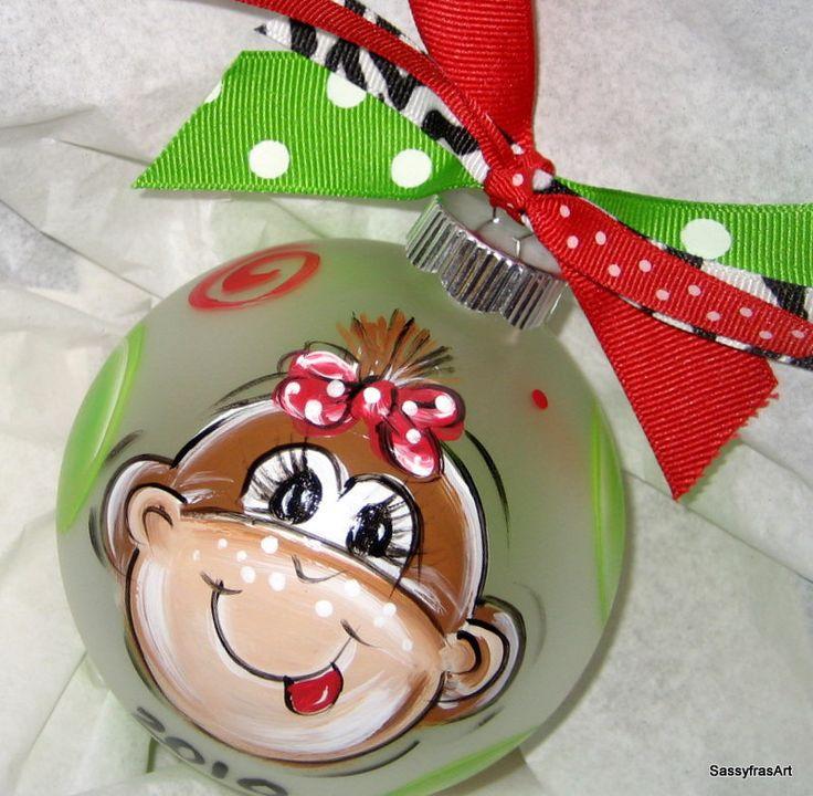 Christmas Ornament Hand Painted Girl Monkey