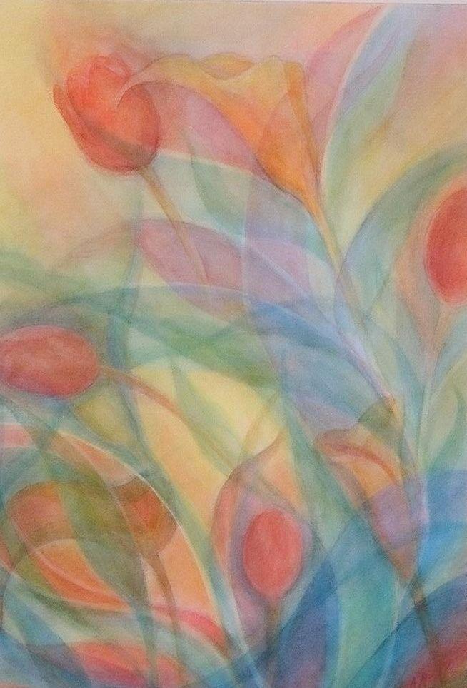 層技法で花を描きました。