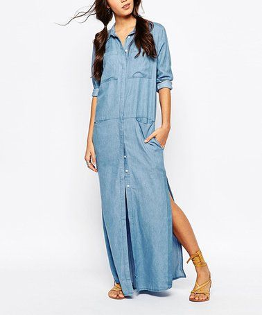 68f470c009af Another great find on  zulily! Light Blue Button-Up Maxi Dress - Women   zulilyfinds