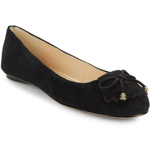 Karl Lagerfeld Paris Women's LaSalle Suede Flats ($36) ❤ liked on Polyvore featuring shoes, flats, black, black suede flats, black flat shoes, flat shoes, black shoes and karl lagerfeld shoes