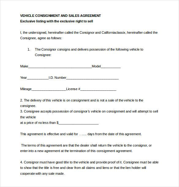 Consignment Agreement 6 Free Pdf Download Sample Templates