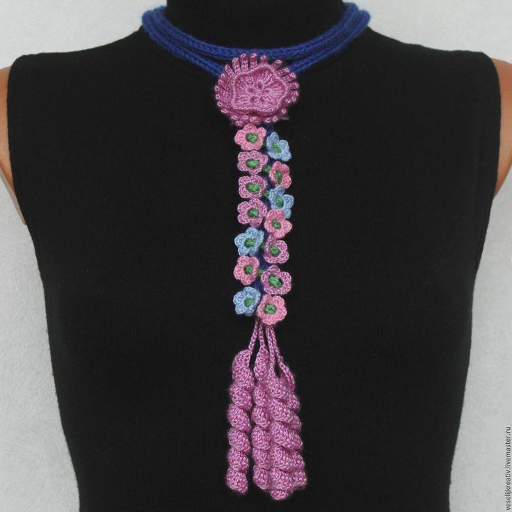 Купить Галстук вязаный Цветочный - шарф женский, шарф вязаный, шарф-воротник
