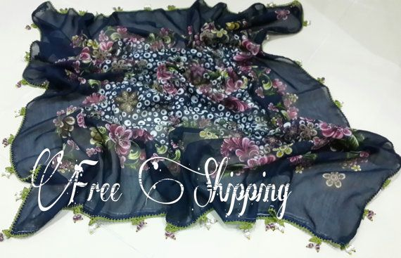 Free shipping Handmade beaded lace scarf by LAMEDORE on Etsy