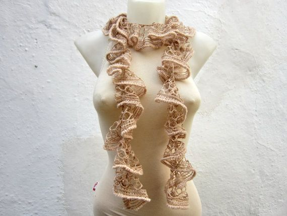 Handmade Brown cream  Scarf  Fall Fashion Frilly by scarfnurlu