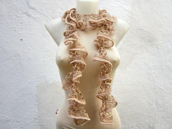 Handmade Brown cream  Scarf  Fall Fashion Frilly by scarfnurlu