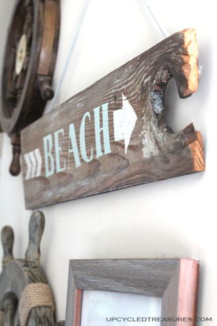 "DIY-wood-beach-sign.  We could make a ""lake"" version!"