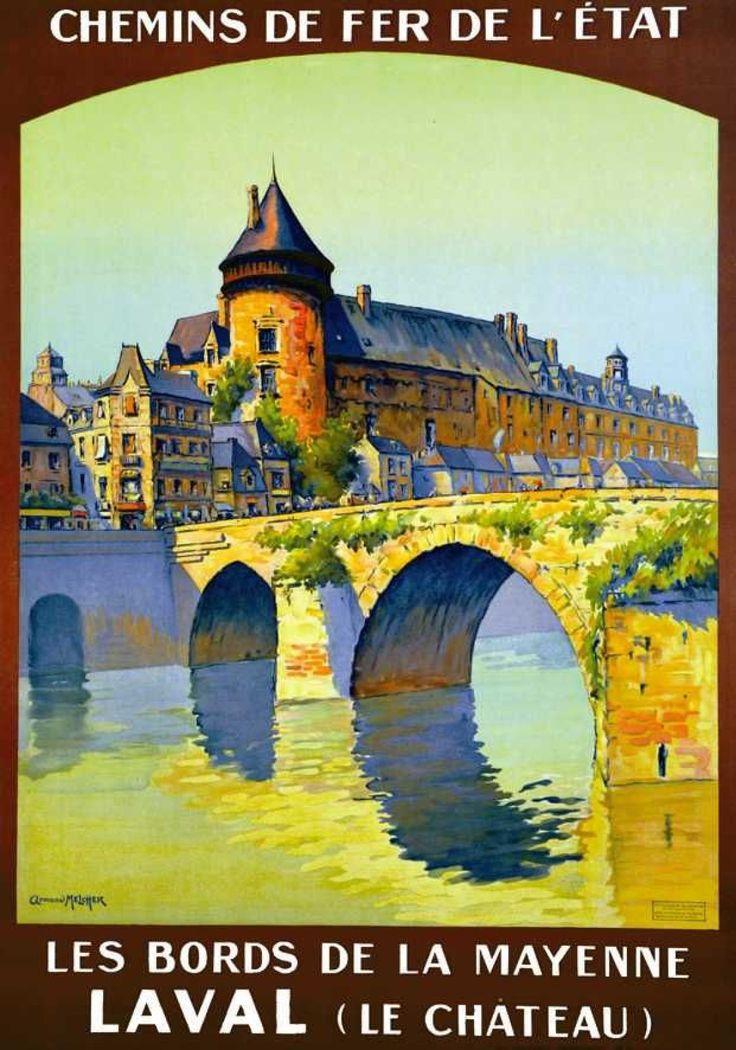 chemins de fer de l'état - Laval (Le Château) - Les Bords de la Mayenne - France -