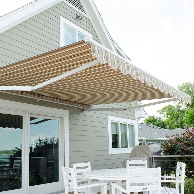 This Awning Features Sunbrella Westfield Mushroom Awning