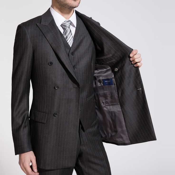 Double-breasted Otto Grey Striped Two-Piece Suit | OWNONLY