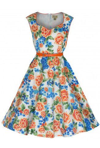 Lindy Bop Yulia Vintage Rockabilly Plus Size Orange Floral Dress