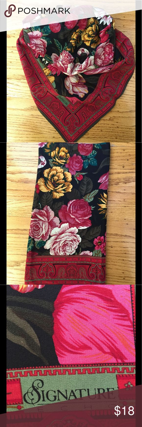 "Vintage Floral Scarf Vintage Echo Scarf.  Approx 33""x34"".  I think it is Silk but not 100% sure.  Lovingly worn but in good shape.  Sorry no trades. Echo Accessories Scarves & Wraps"