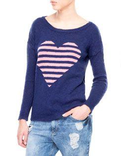 Maglione righe e cuore