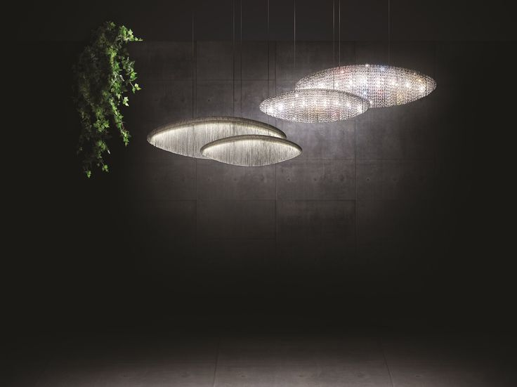 SILK Crystal and steel pendant lamp by Manooi