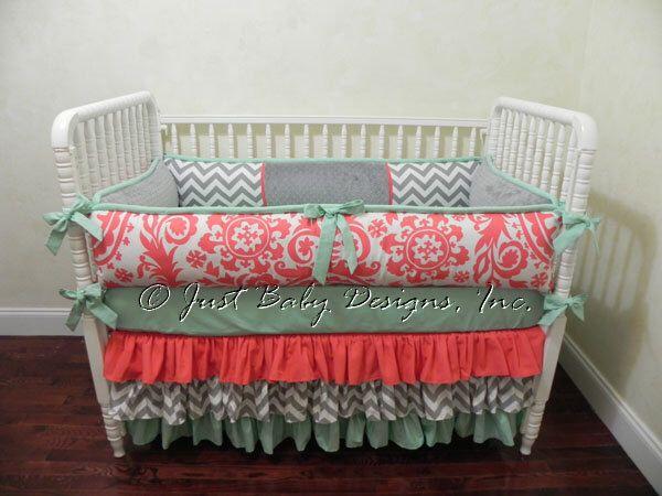 Custom Baby Bedding Set Taryn  - Girl Baby Bedding, Coral Baby Bedding, Gray Chevron, and Mint Crib Bedding by BabyBeddingbyJBD on Etsy https://www.etsy.com/listing/246620695/custom-baby-bedding-set-taryn-girl-baby