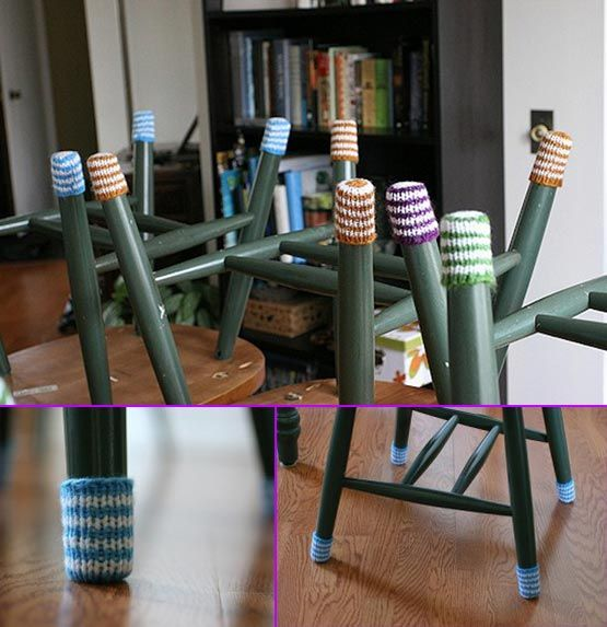 Free Pattern: Chair Socks To Protect Your Hardwood Floors This is such a greatidea and they are cute :) . If you have just spent tons of dollars having be