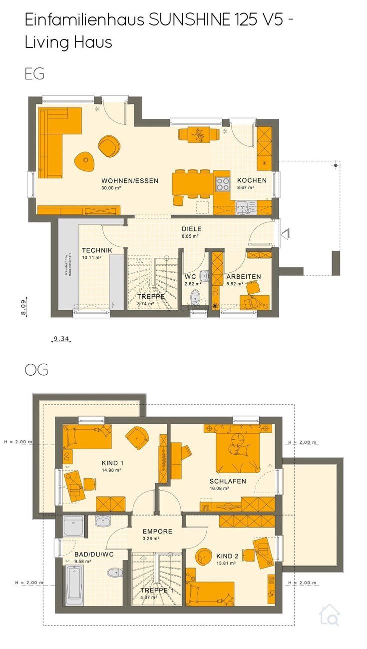 Grundriss Einfamilienhaus mit Satteldach 5 Zimmer, 125