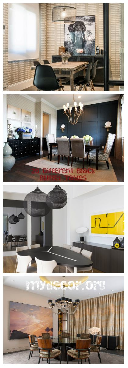 20 Different Black Buffet Tables Black buffet tables look great in the dining areas. Come take a look!     We all know that there are some furniture at home that we do not really need, but because by practice we have them, or people we know have them – we get them for our own homes too. A p...