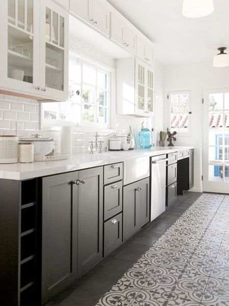 The two-tone look for kitchens allows a kitchen to appear more spacious than it actually is, which means it's great for small kitchen too. The darker, base cabinets 'ground' the kitchen while the lighter upper cabinets almost appear to 'float' over the space.