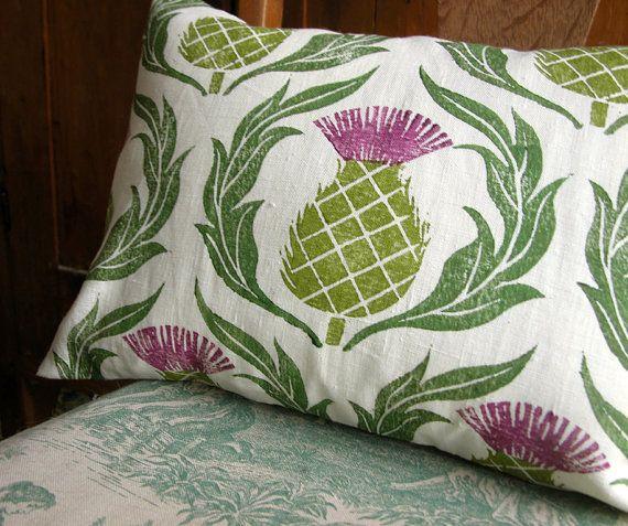 Scottish Thistle hand block printed white linen decorative home decor pillow…