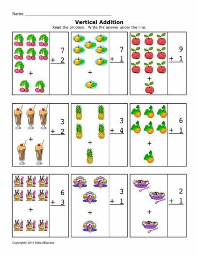 Math Worksheets, Addition Worksheets, Sums 1-10, Vertical
