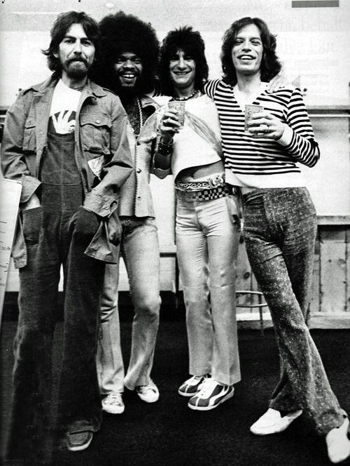 George Harrison, Billy Preston, Ron Wood & Mick Jagger in Los Angeles; captured by Annie Leibovitz (1975)