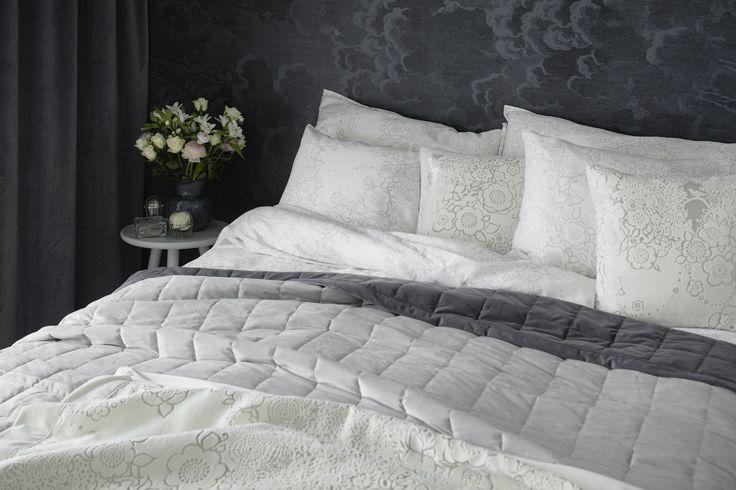 Lennol   BLACKBIRD Duvet Cover Set & MELANIE Double sided bed spread, Dark grey and light grey