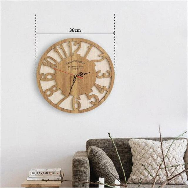 PINJEAS Wooden Wall Clock Creative Modern Wall Clock Retro Pocket Watch Decor Crafts Natural Wall Clock Antique Style Clocks